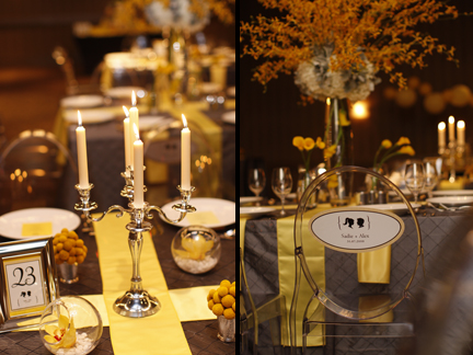 yellow and grey wedding reception